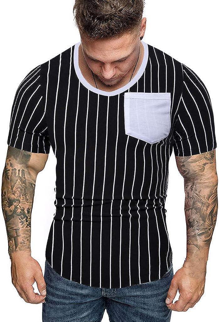Yajiemen Mens Striped Splicing Pattern Casual Fashion Lapel Short Sleeve Shirt