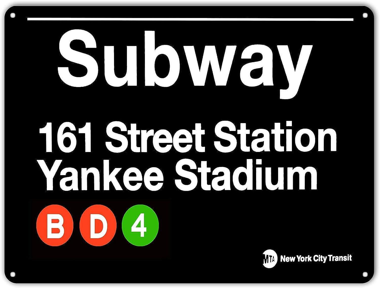 NINGFEI Yankee Stadium New York Street Subway 161 Retro Wall Bar Decor Metal Tin Sign 16 x 12 inches Decorative Sign