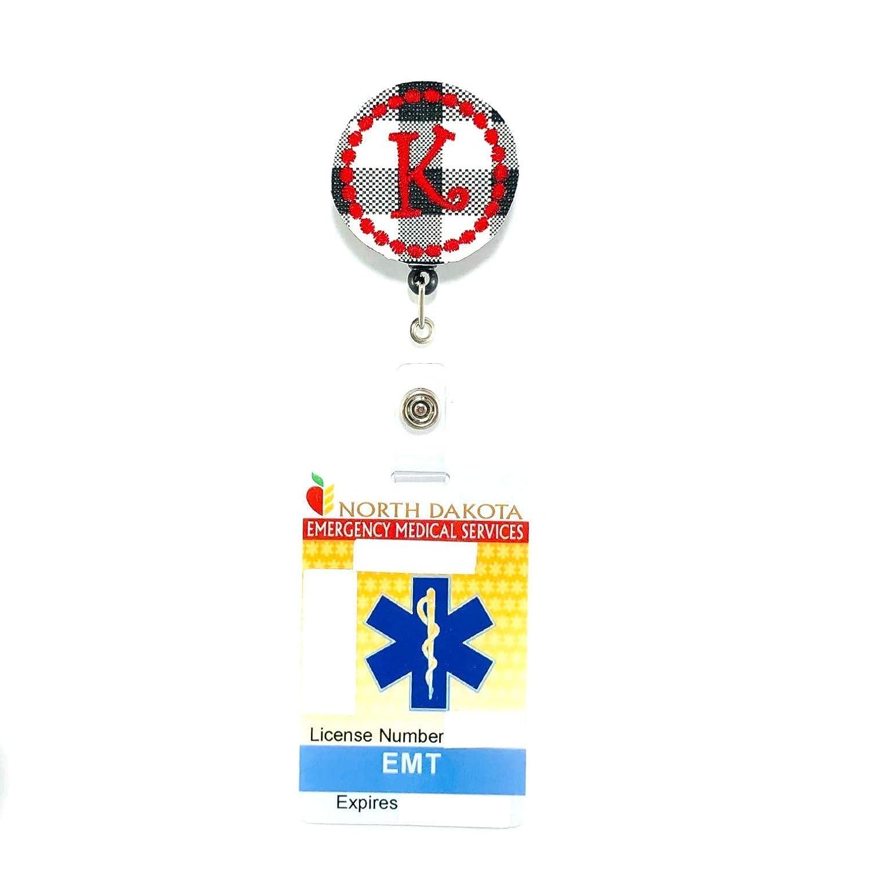 Plaid Initial Retractable Badge Reel