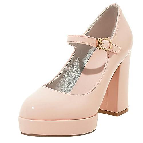 Agodor Damen High Heels Blockabsatz Pumps mit Schnalle und Plateau Riemchen  Lack Ankle Strap Schuhe 8552c03c5b
