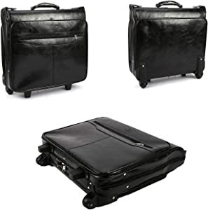 Lehom Leather Business Travel Briefcase on Wheels Laptop Rolling Bag Multifunctional Computer Case for Men Women Black 20x19x 6.7inch