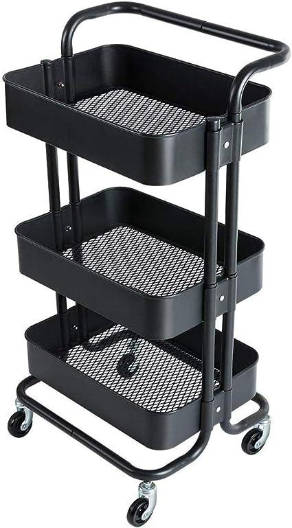 Bureau Noir Support De Rangement Roulant en M/étal Robuste Color:Blanc GAOX Chariot De Rangement /à 3 Niveaux Salle De Bain Roues Easy-Glide pour Cuisine