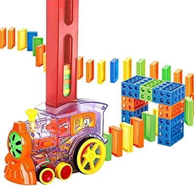 80 Pieces Train Toy Set Train BlocksBuilding and Stacking Toy Blocks Rally Electronic Train Model Colorful Toy Set Girl Boy Child Kid Gift : Baby