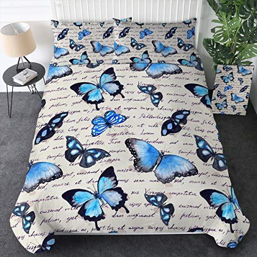 Twin Sleepwish Blue Butterfly Duvet Cover Bed Set 3 Piece Watercolor Butterfly Quilt Cover Vintage Bedding Set 3D Purple Butterflies White Bedding for Women Teen Girls