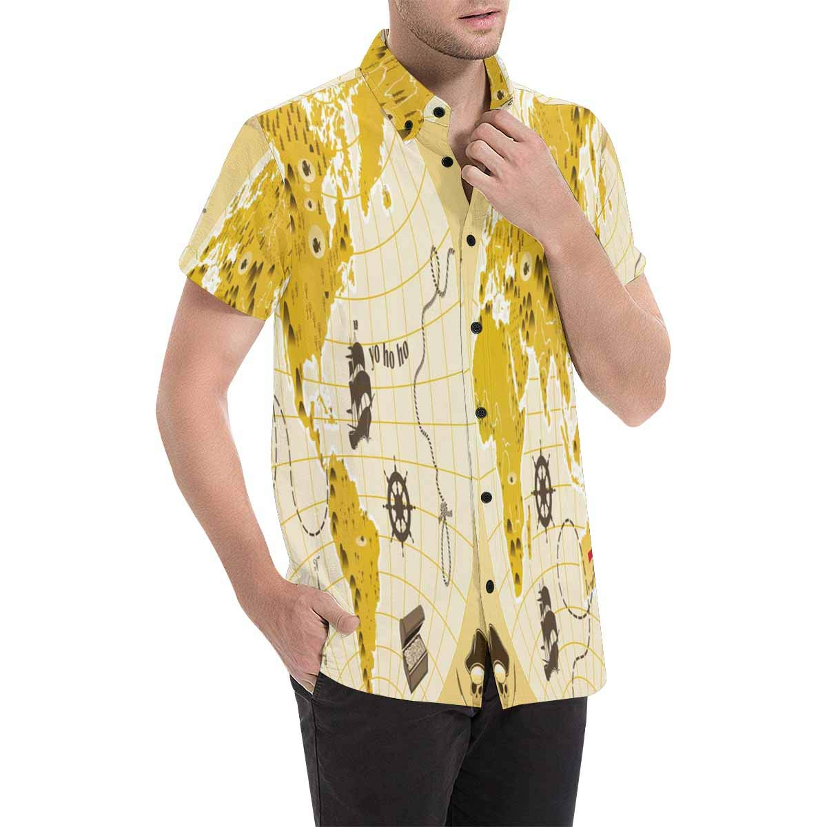 InterestPrint Men Regular Fit World Pirate Map Print Casual Button Down Short Sleeve Shirt S-5XL