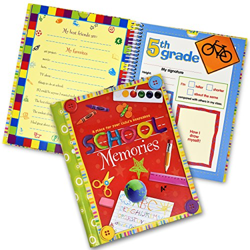 (School Memory Book Album Keepsake Scrapbook Photo Kids Memories from Preschool Through 12th Grade with Pockets for Storage Portfolio + Bonus 12 Slots to Paste Pictures - of School Pictures,)