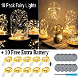 Fainyearn 10 Pack Fairy String Lights Battery Operated(Incl) LED Moon Lights Wire Vase