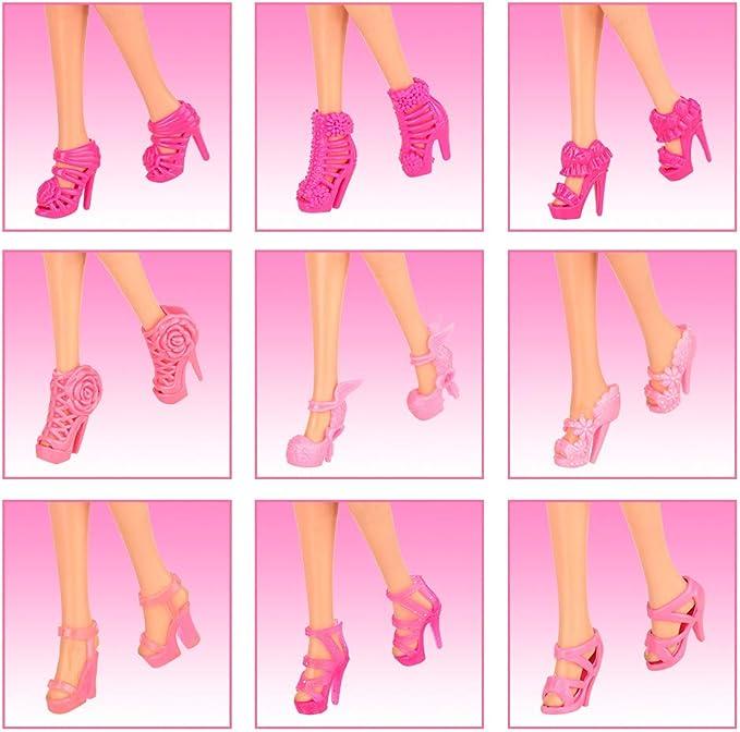 Miunana Lot de 20 chaussures pour poup/ées = 10 modes de f/ête tendance pour les vacances 10 chaussures pour poup/ées de 11,5