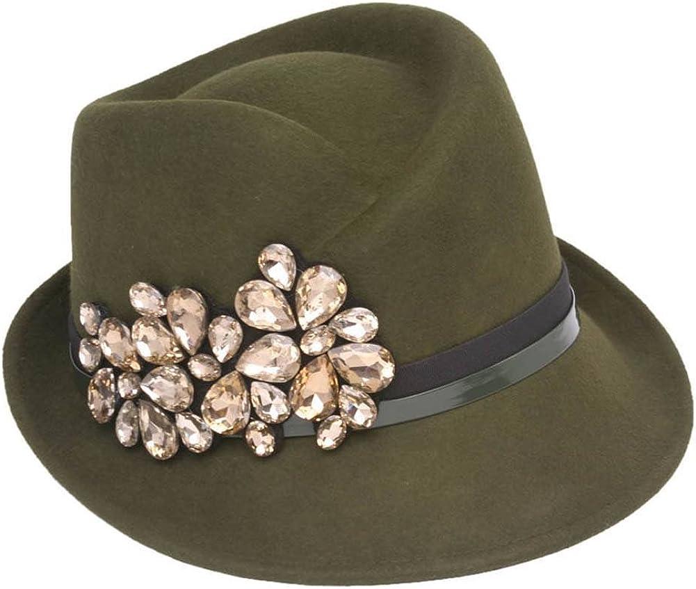 Wool Fedora Hat W/Jewel Crest