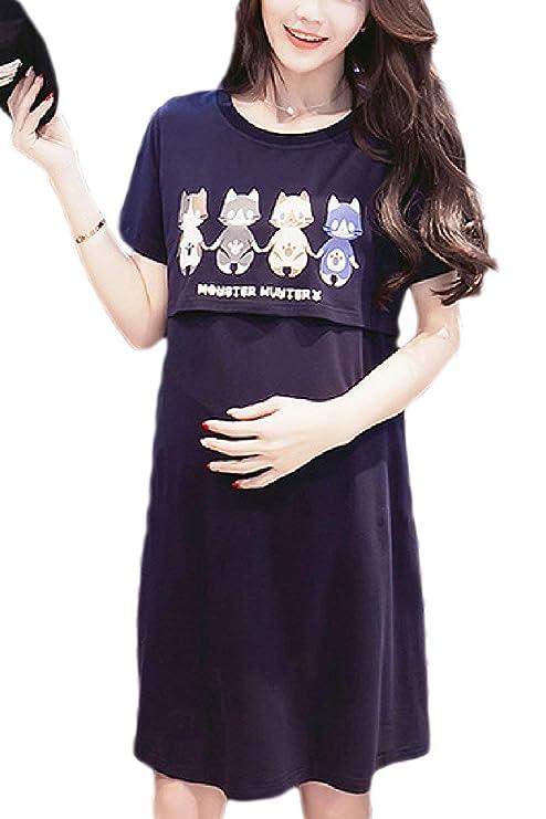 f61dc7069 FuweiEncore Vestido de Maternidad de Las Mujeres Lactancia Lactancia sin  Mangas (Color   Azul