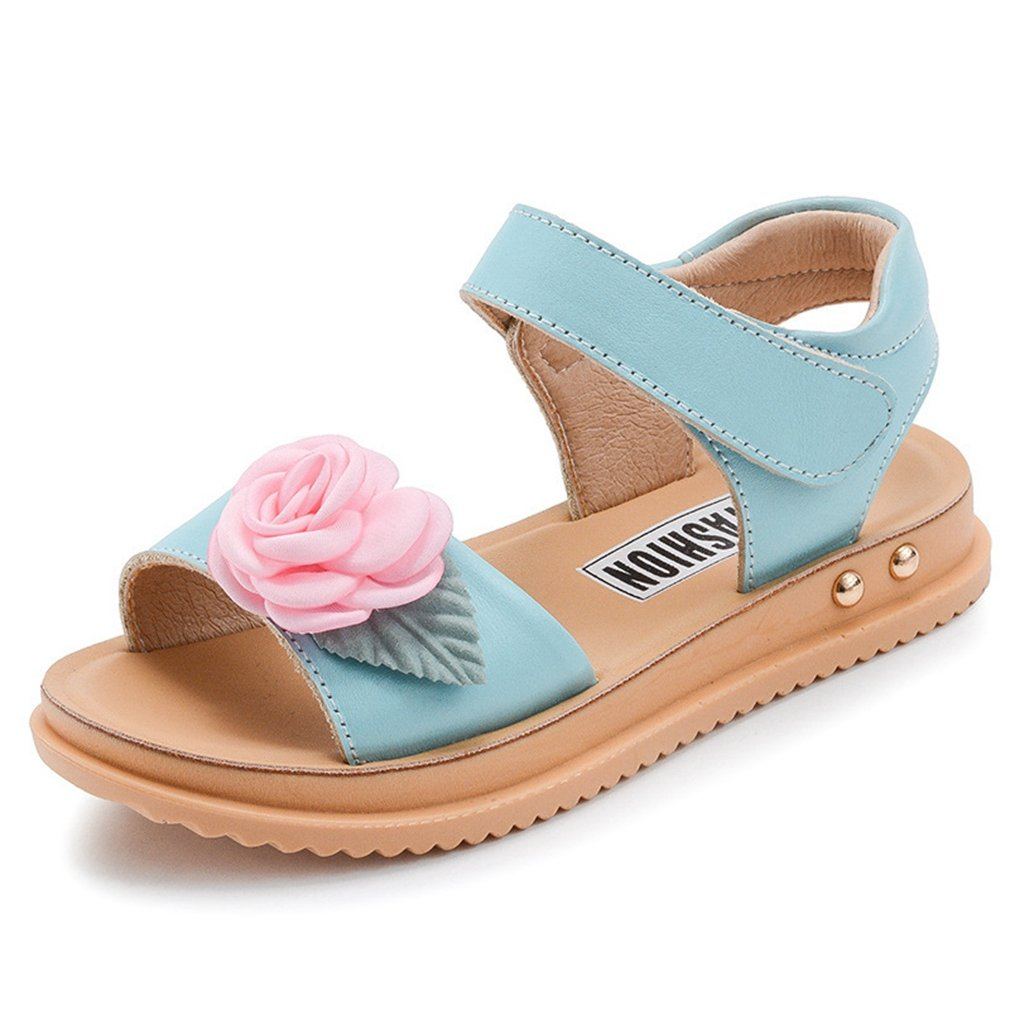 CYBLING Girls Flower Leather Strap Cute Sandals Open Toe Casual Flat Shoes (Toddler/Little Kid/Big Kid)