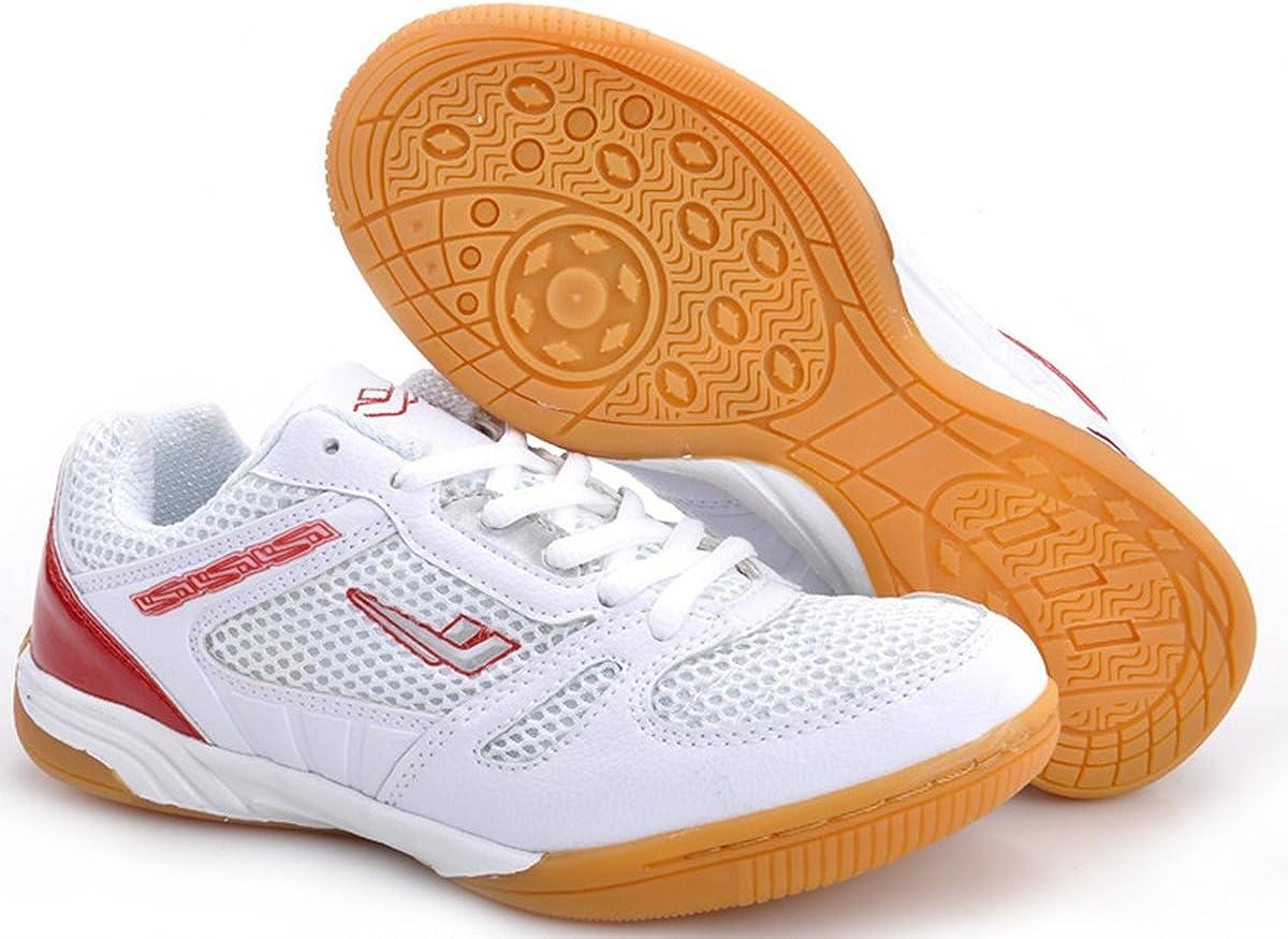 XPD Professional Sports Shoes - Zapatillas de Tenis de Mesa de Material Sintético para Hombre Blanco Blanco/Rojo: Amazon.es: Zapatos y complementos
