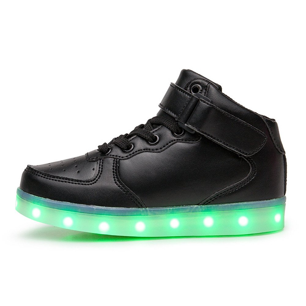 New LED Shoes Lights Casual High-Top LED Glowing Shoes Boy's Girl's (Black-9 M US Toddler)