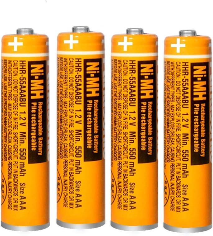 4 x Pilas Recargables AAA 550 mah 1.2v para Panasonic, baterias Recargables NiMH para telefonos inalambricos