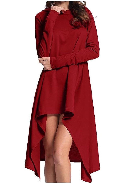 Abetteric Women's Mid Length Irregular Athletic Hoodie Sweatshirts Robes