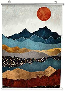 Japanese Style Landscape Painting Hanging Poster Canvas Wall Art, Modern Decorative Picture with Metal Frames, Hanging Scroll Posters Wall Décor for Living Room Bedroom Office Home Decoration(20