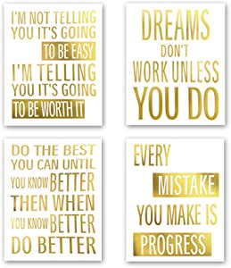 Inspirational Phrases Gold Foil Print, Motivational Quote&Saying Cardstock Art Print Poster Inspiring Words Wall Art Painting for Classroom Study Room Home Decor (8 X 10 inch, Set of 4, UNframed)