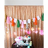 TRLYC 20Ft W by 10FT H Sparkly Rose Gold Sequin Backdrop Curtain for Wedding Halloween Thanksgiving Day Christmas
