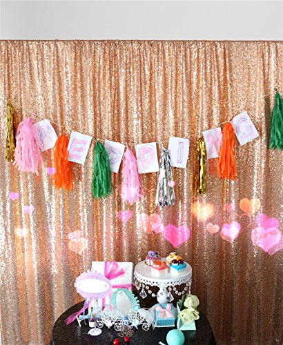 TRLYC 5FT x 9FT Rose Gold Sequin Backdrop Fabric Party Wedding Photo Booth (Photo Booth Wedding Backdrop)