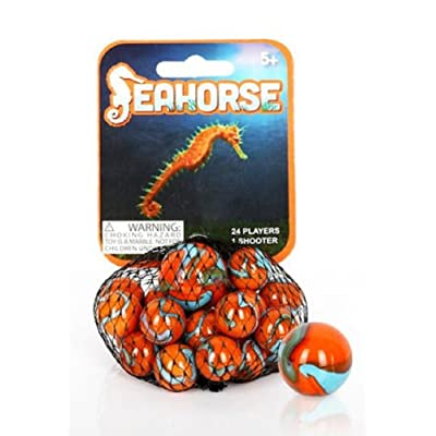 Mega Marbles - SEAHORSE MARBLES NET (1 Shooter Marble & 24 Player Marbles): Toys & Games