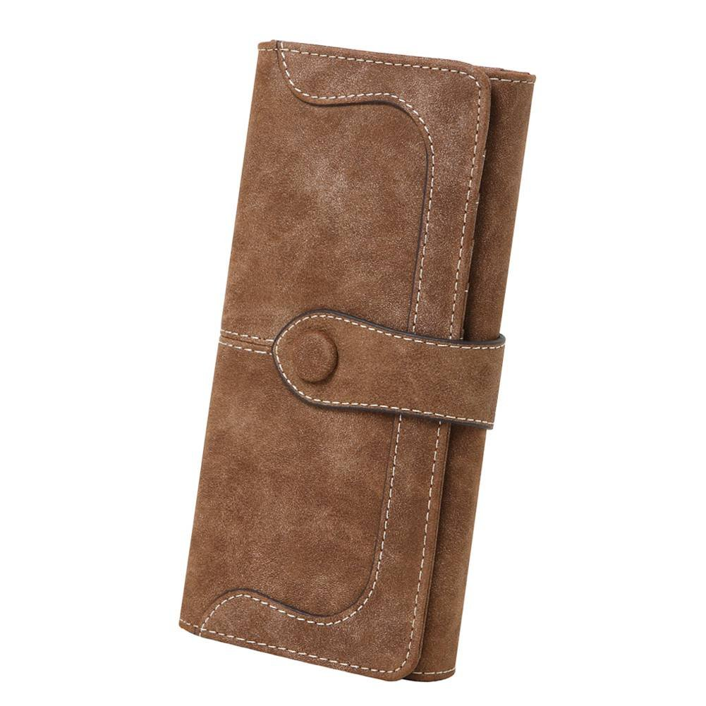 Women's Vegan Leather 17 Card Slots Card Holder Long Big Bifold Wallet,Coffee