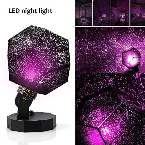 (Sunnec DIY Science Sky Projection Night Light Projector Lamp, Phantom Star Projector Night Lamp with 12 Romantic Constellation for Children Adults Bedroom)