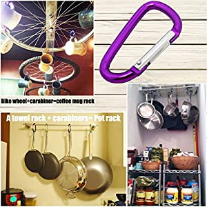 QY 5PCS Red Green Blue Purple Gold Colored Spring Snap Hook Ring D Shape Aluminum Keychain With Keyring