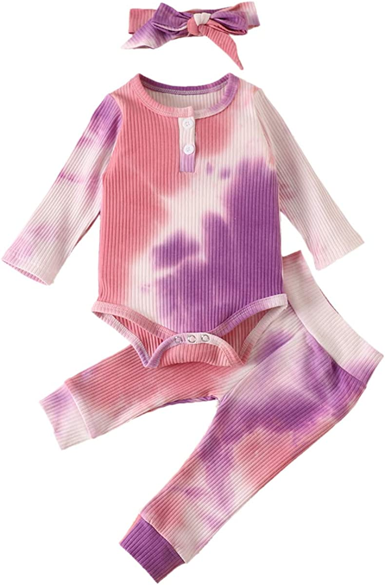 IMEKIS Baby Girls Boys Tie Dye Outfit Knit Romper + Pants + Headband Pajamas Set Ribbed Ruffle Long Sleeve Sleepwear Clothes
