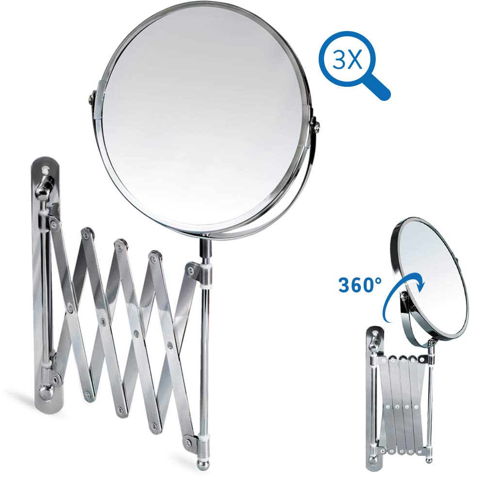 Tatkraft AURORA Wall Mounted Extending Mirror D17cm Chrome 3X Magnification Others