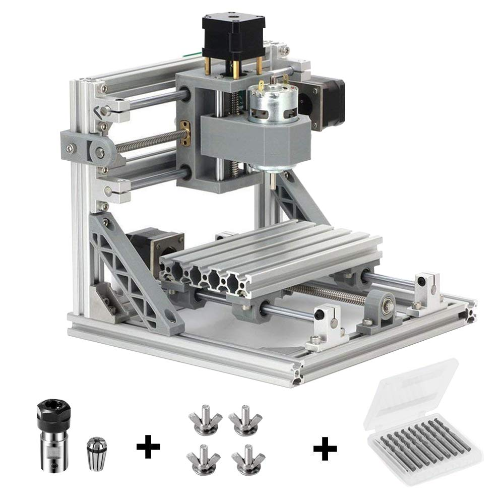 Beautystar DIY CNC Router Kits 1610 GRBL Control Wood Carving Milling Engraving Machine Working Area 16x10x4.5cm, 3 Axis, 110V-240V
