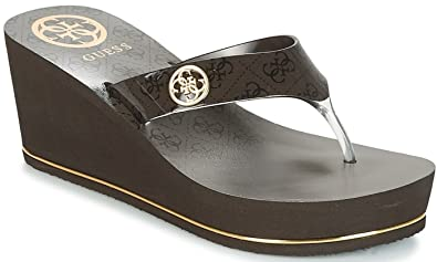 1849b9c51c4 Image Unavailable. Image not available for. Colour   Guess Shadia2 Beibr  Womens Wedge Flip Flops