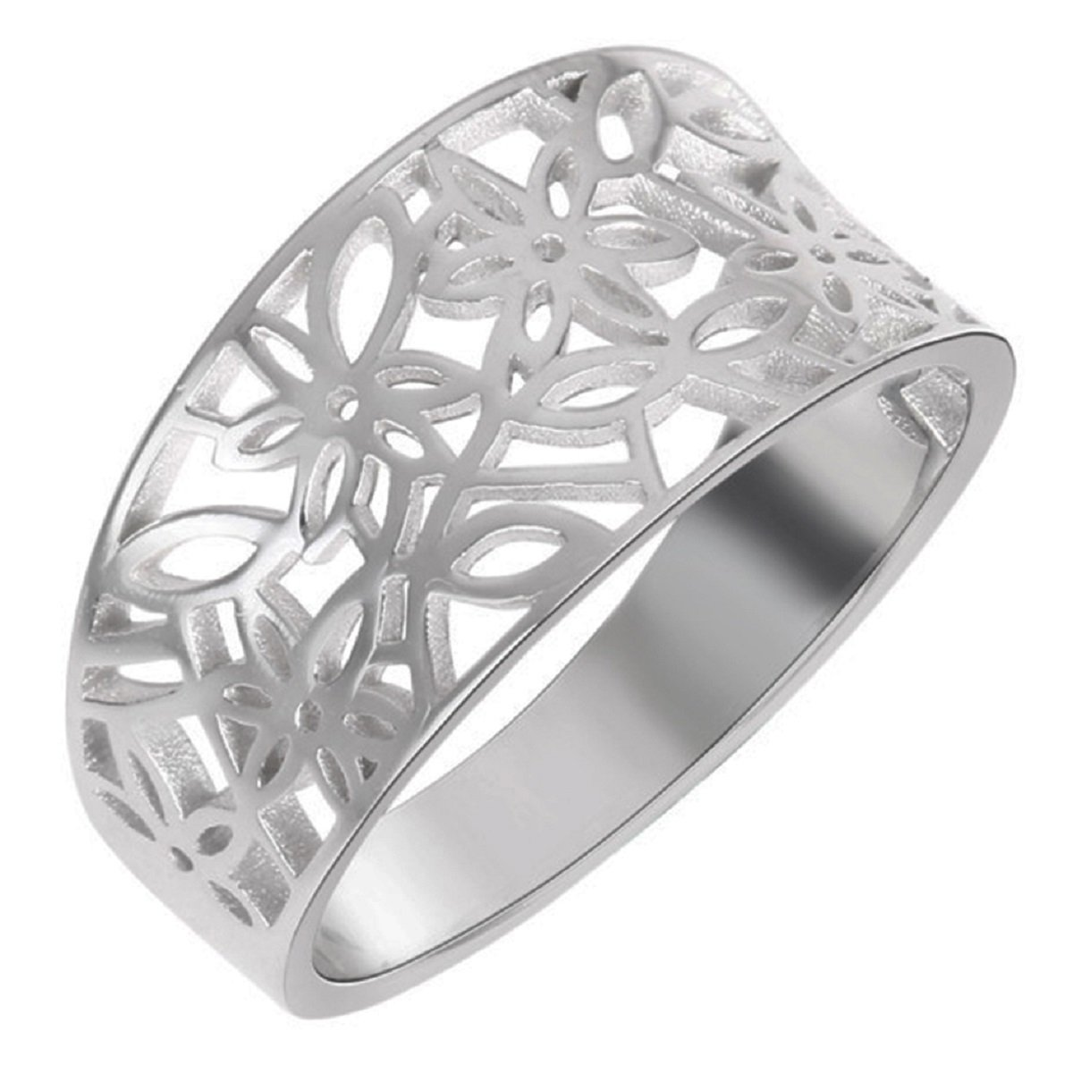 CloseoutWarehouse Sterling Silver Victorian Leaf Filigree Vintage Style Ring Size 14