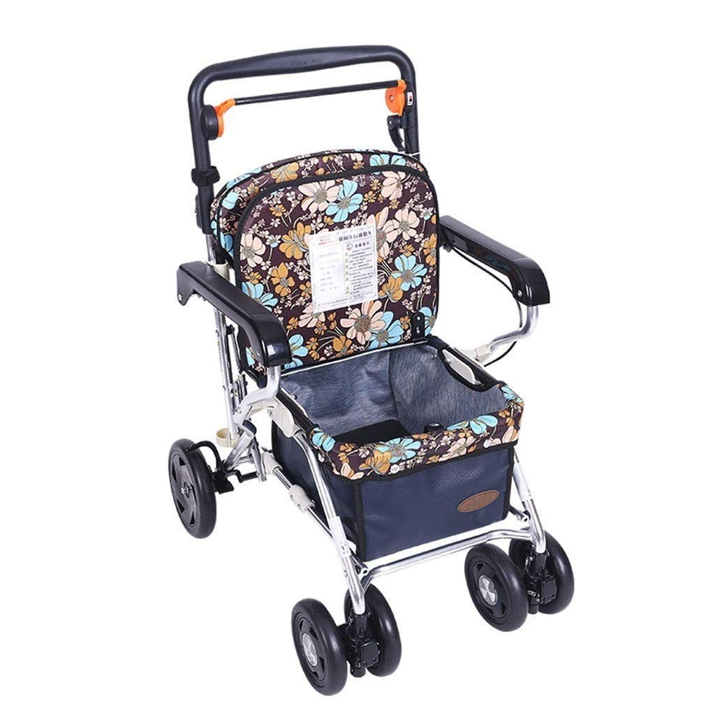 Medical Rolling Walkers Trolley Old Man Shopping Cart Walker Can Take A Folding Wheelchair Household Grocery Shopping Cart Four-Wheeled Vehicle PNYGJZXQ by PNYGJZXQ
