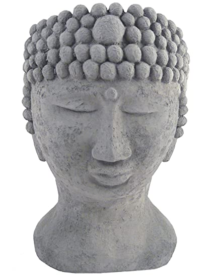 Buddha Head Sculpture Outdoor Garden Planter, 14 Inch, American Made Fine Cast  Stone