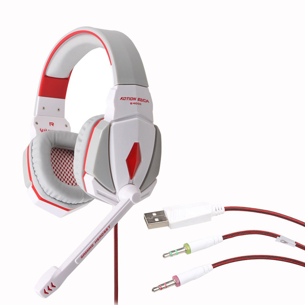 KOTION G4000 Pro 3.5mm PC Gaming Stereo Noise Canelling Headset LED Game Headphone, With Volume Control MIC, White+red