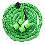 Zobbe Garden Water Hose 7 Adjustable Watering Patterns Watering Nozzle Sprayer Expandable Garden Hose - 25ft Expanding High Pressure