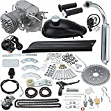 """PanelTech 80CC 26"""" to 28"""" Complete Motor Engine Kits 2-Stroke Cycle for Motorized Bicycle Bike (Silver)"""