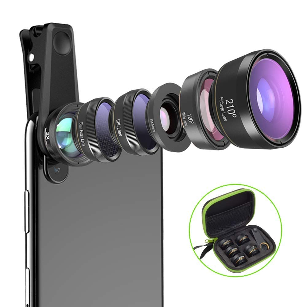 GXSLKWL Universal 6 in 1 Phone Camera Lens Fish Eye Lens Wide Angle Macro Lens CPL/Star Filter 2X Tele for iOS and Most Android Smartphones by GXSLKWL