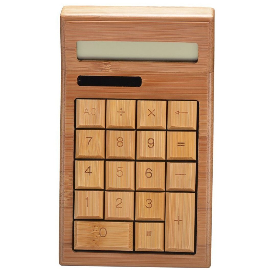 Smart Tech Handcrafted Natural Bamboo Wooden Calculator Enviorment Friendly by Smart Tech
