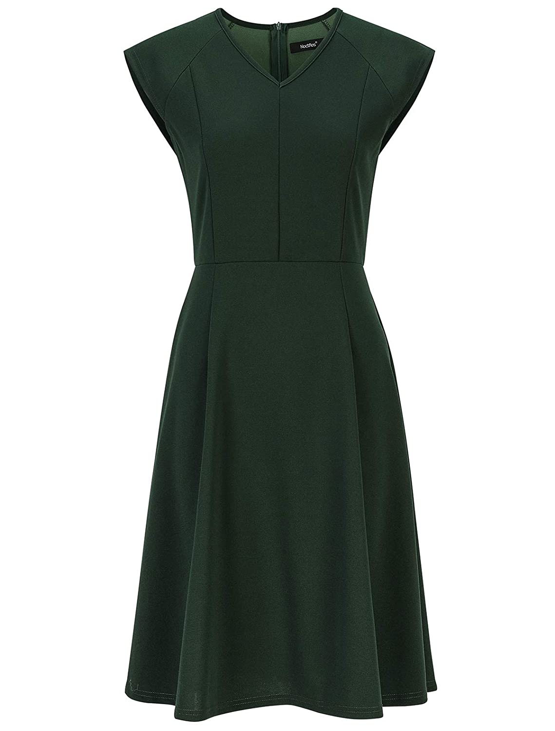 500 Vintage Style Dresses for Sale | Vintage Inspired Dresses Noctflos Women's V Neck Cap Sleeve Fit and Flare Swing Dresses for Cocktail Party Work $27.89 AT vintagedancer.com