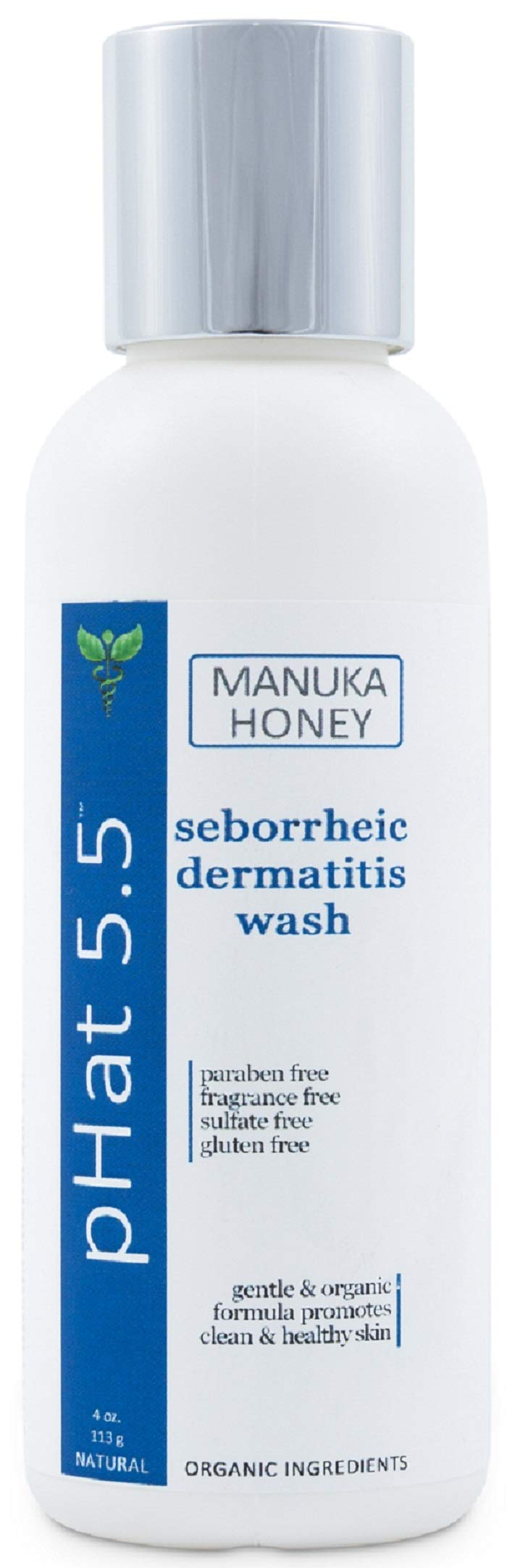 Seborrheic & Atopic Dermatitis Gentle Face Wash with Manuka Honey - Natural & Organic Face Cleanser & Body Wash For Sensitive Skin - Hypoallergenic, Paraben Free & Sulfate Free Acne Face Wash (4 oz) by pHat 5.5