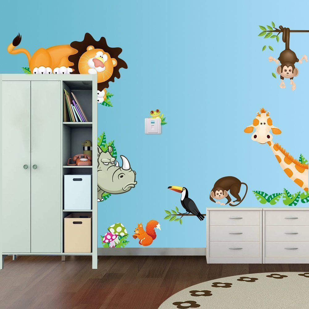 Ecloud Shop Jungle Wild Animal Vinyl Wall Sticker Decals for Kids Baby Bedroom Wall Paper
