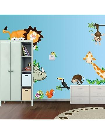 Hilai Cartoon Ours Mignon Fox Stickers Bricolage Art D/écoration denfant Chambre Nursery d/écoratifs Papier Peint Amovible Famille Decal