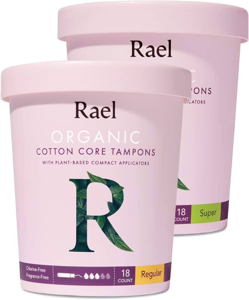 Rael Organic Cotton Compact Tampons - Regular & Super Size, Plant Based Applicator, Chlorine Free, Compact Applicator with Leak Locker Technology (36 Count): Health & Personal Care