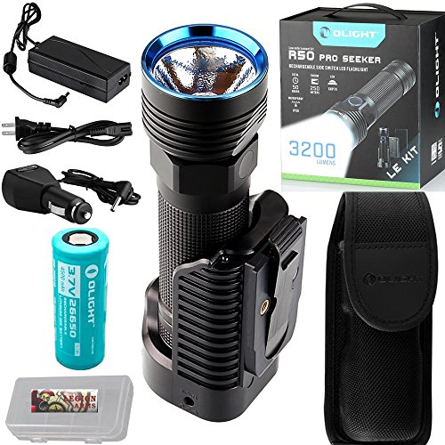 LE Kit: Olight R50 PRO Seeker LE, Law Enforcement Kit, 3200 Lumens Military Grade Police Tactical Rechargeable LED Flashlight Searchlight with 26650 Battery, Holster, Charging Dock and LegionArms case by Olight R50 Pro Seeker LE