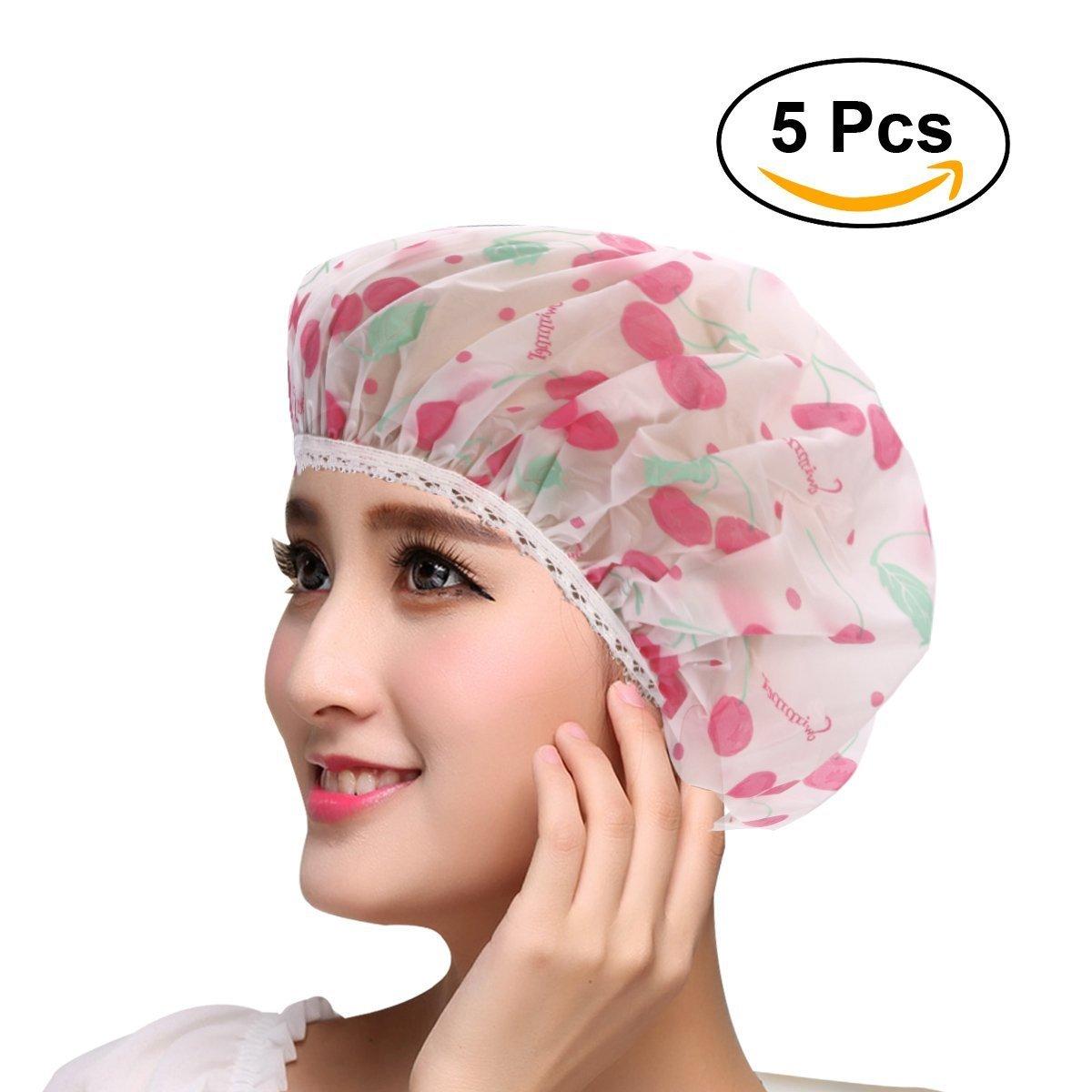 Frcolor 5pezzi berretto elastico impermeabile bagno doccia bagno capelli Cap Lady Salon cappello