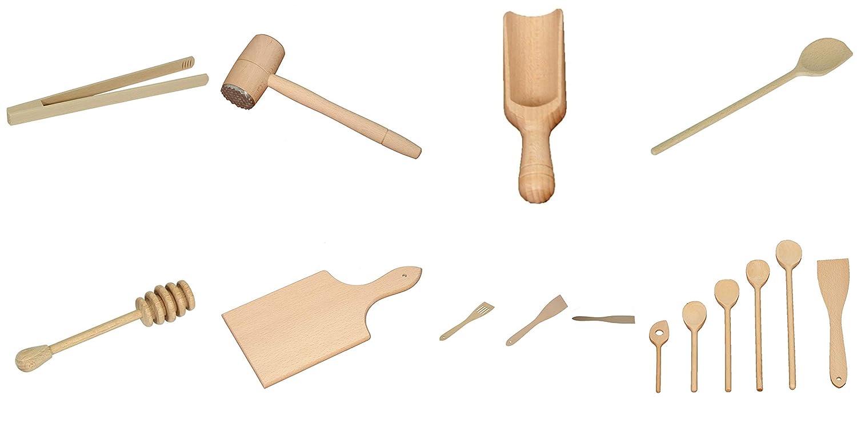 9 pezzi set Cucchiaio da Cucina Utensili in Legno di Faggio (6x Mestolo 18cm-35cm, Cucchiaio per miele, 2x Spatola da cucina) KGZ Ribnica