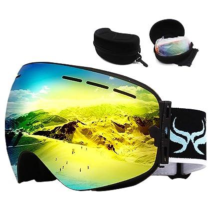 d06a693551e JoySki 7 Colors Professional Unisex Ski Goggles with Mirror Coating Anti  Fog-UV400 Protection Detachable