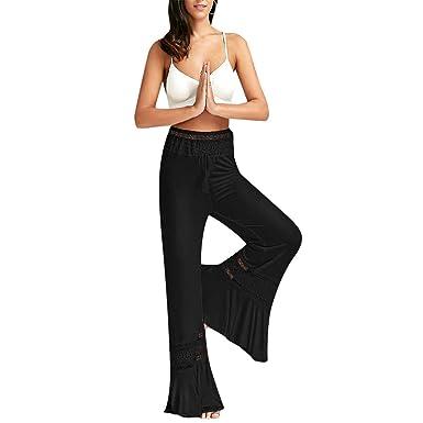 29d91e1c7f Women Boho High Waist Wide Leg Pants Summer Femme Loose Beach Long Casual  Harem Pants Lace