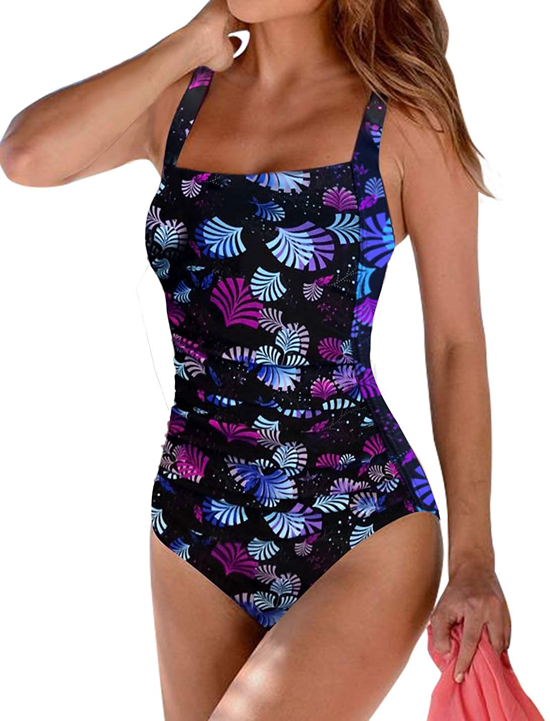 Upopby Womens Vintage Padded Push up One Piece Swimsuits Tummy Control Bathing Suits Plus Size Swimwear